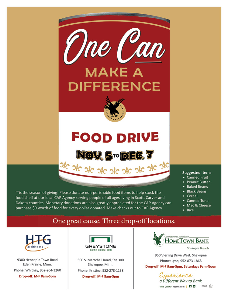 Food Drive flyer -- One can make a difference