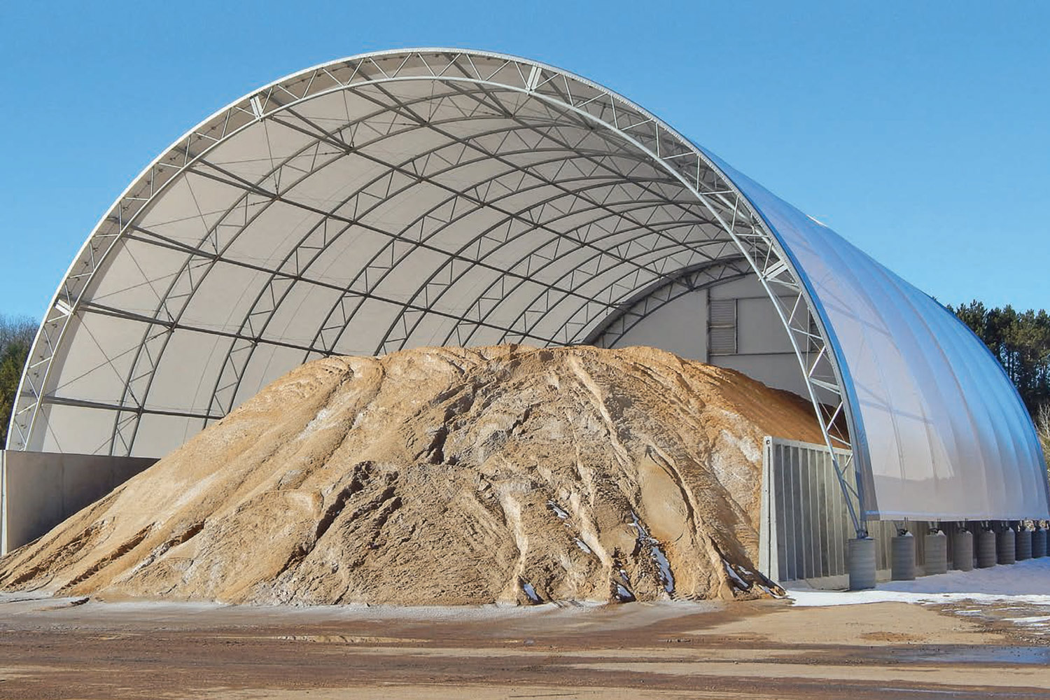 Salt and sand storage building shed
