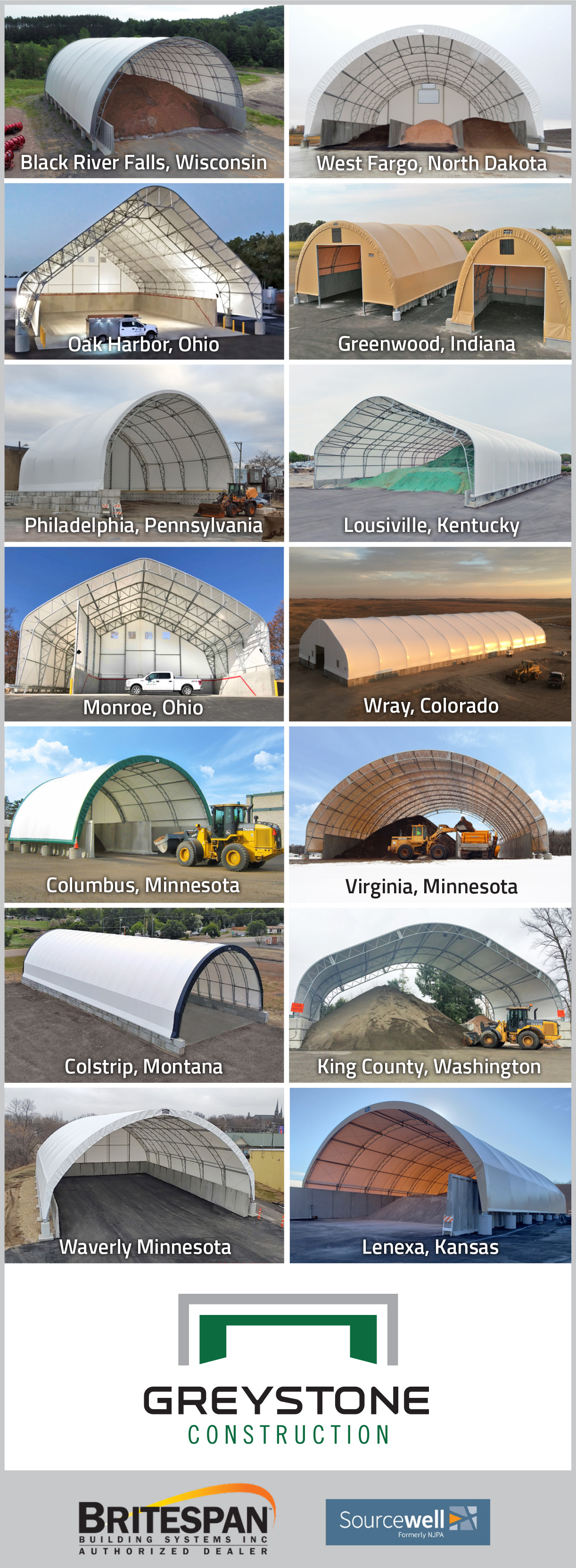 Salt storage buildings and sheds across the USA