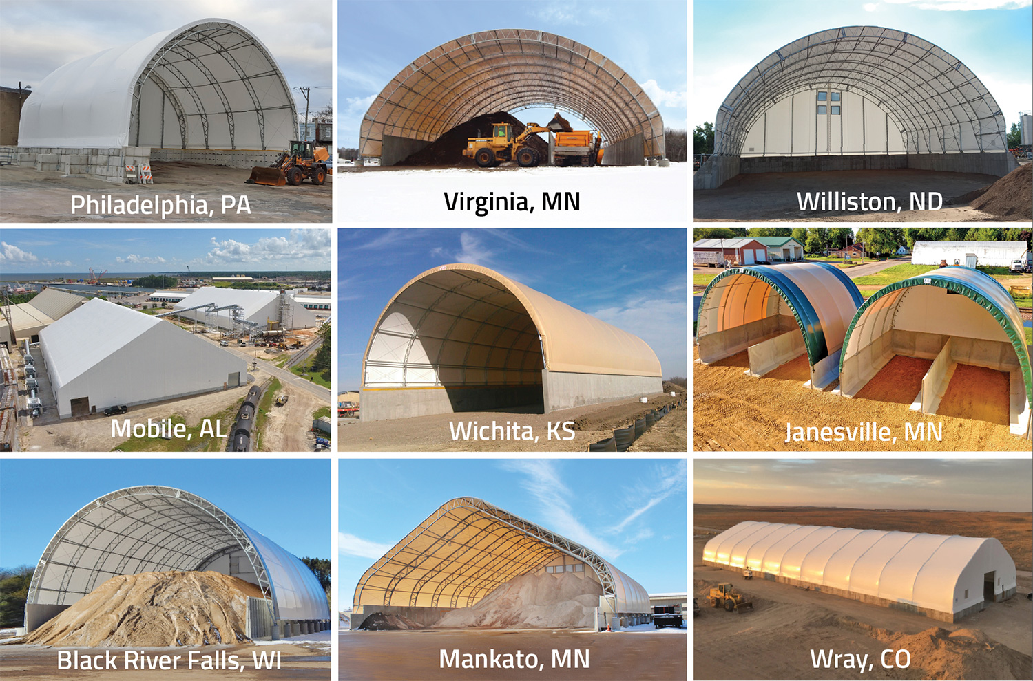 Our salt shed storage fabric buildings across the US
