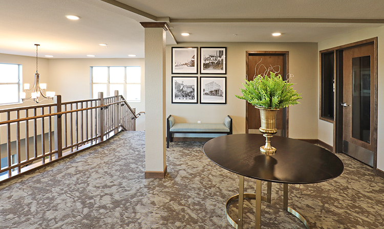 Second floor lobby inside Brentwood Terrace Independent Senior Living Facility