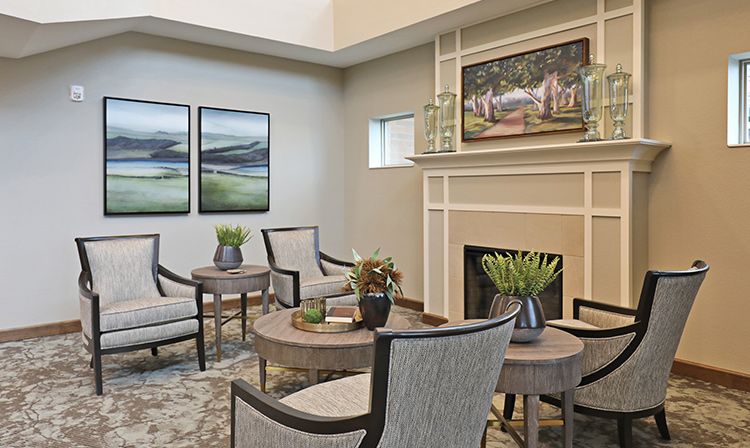 Lobby inside Brentwood Terrace Independent Senior Living Facility