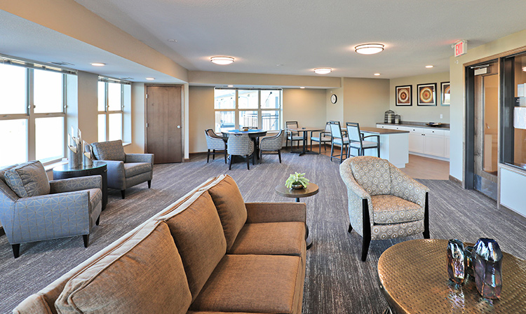Fourth floor club room inside Brentwood Terrace Independent Senior Living Facility