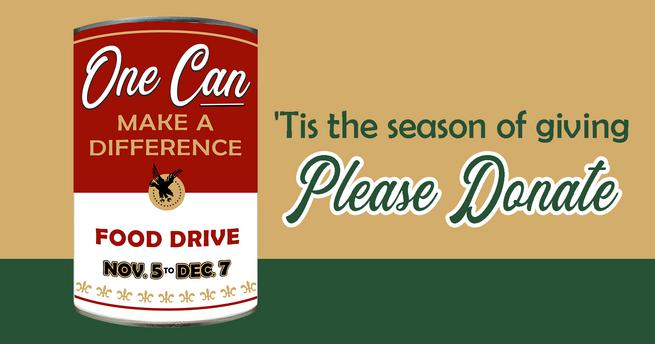 Tis the season of giving. Please donate for food drive