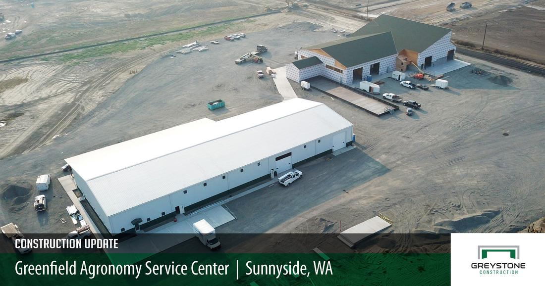 Construction update on the greenfield agronomy service center in Sunnyside, Washington