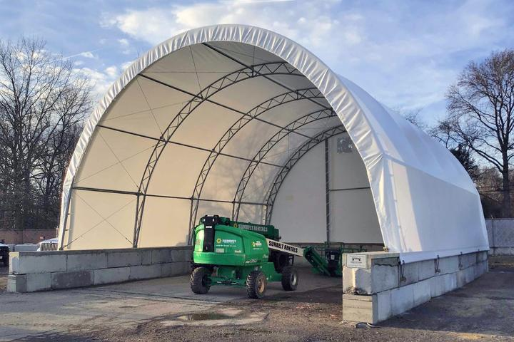 Salt storage shed fabric building in Maryland