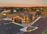 Aerial view of the HomeTown Bank multi-tenant office building