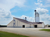 Exterior view of the dry fertilizer storage building for CHS in St. Charles, MN