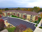 Back aerial view of the Henderson senior living facility / housing community