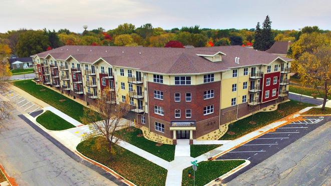 Aerial front view of the Henderson senior living facility / housing community