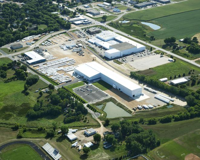 Aerial view of the Chart Industries Manufacturing Facility metal building