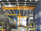 Overhead cranes inside Chart Industries Manufacturing Facility metal building
