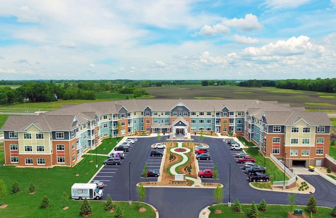 Aerial front view of the Pillars of Mankato senior living facility housing construction project