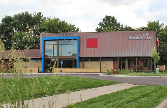 Exterior of BankVista bank construction project
