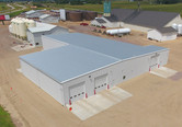 Aerial view Crystal Valley Coop bulk chemical warehouse and liquid loadout facility in Janesville, MN