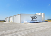Aerial view River Valley bulk chemical warehouse with liquid loadout using a steel building in Speer, IL