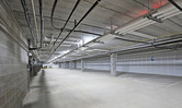 Underground parking inside of the Brentwood Terrace independent senior living facility housing construction project