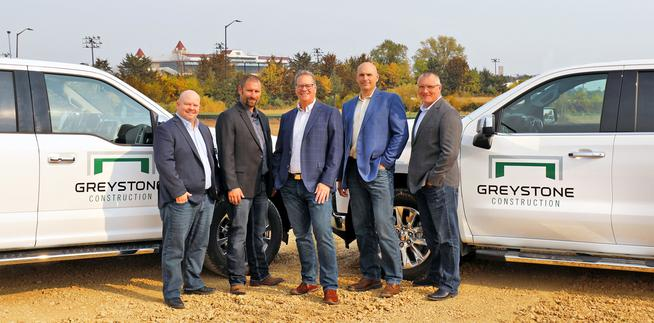 Greystone Construction Announces Ownership and Leadership Transition. Pictured (left to right) Colin O'Brien, Brian Kreuser, Kevin O'Brien, Eric Bender, and Gordie Schmitz